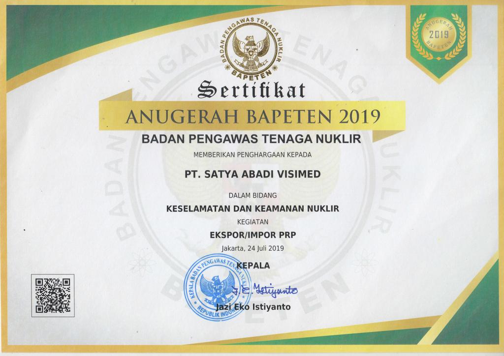 sertifikat bapeten 2019